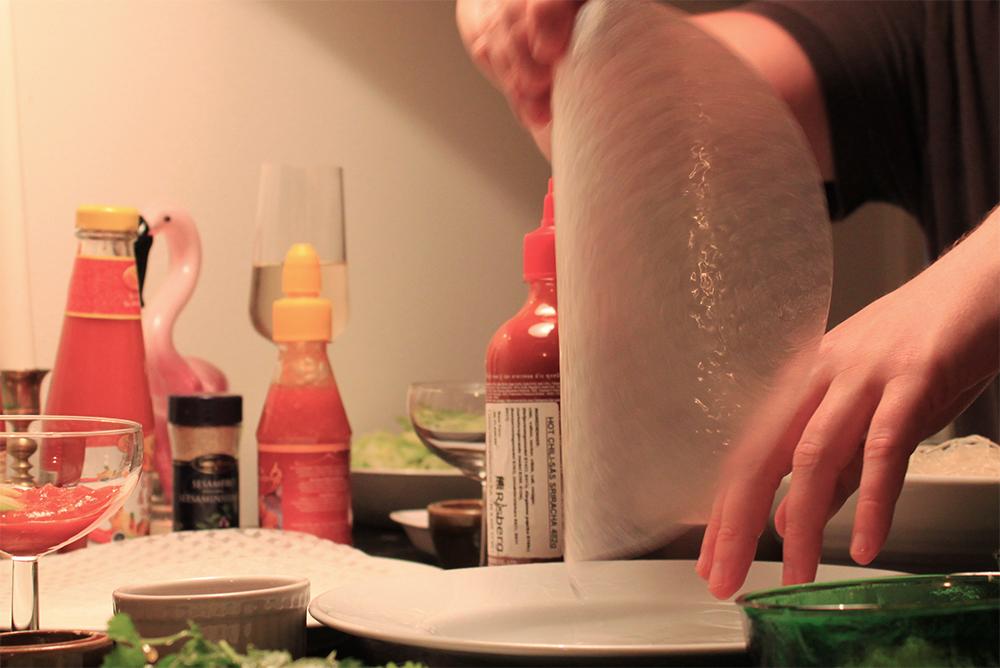 Färska vårrullar och rispapper