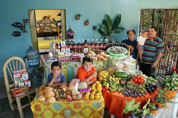 Familj i Mexico visar upp matvaror de köper på en vecka