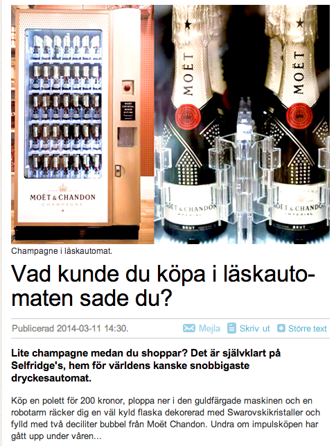 Moet - Champagne in vendingmachine