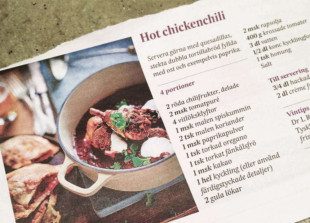 Recept Hot chicken chili från SvD